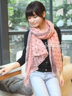 ผ้าพันคอลายจุด ขอบระบายลูกไม้ สีชมพู ผ้าพันคอ viscose - size 160x80 cm