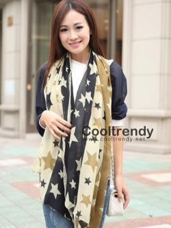ผ้าพันคอ ผ้าคลุมไหล่ ลายดาว Stars สีน้ำตาล - ผ้าพันคอ Silk Chiffon - size 170*70 cm