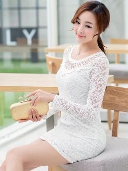 ชุดเดรสผ้าลูกไม้สีขาว ใส่สบาย น่ารักๆ