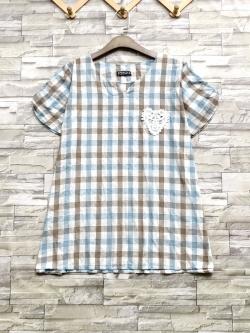ส่ง:เสื้อแต่งหัวใจลูกไม้ถักแบบน่ารักทรงปล่อยใส่สบาย/อก46