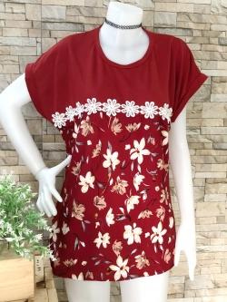 ส่ง:เสื้อยาวทรงใส่สบายลายดอกแต่งลูกไม้ถักคาดช่วงอก/อก42