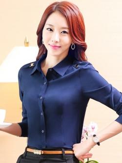 เสื้อเชิ้ตทำงานแขนยาวสีน้ำเงิน สำหรับเป็นชุดยูนิฟอร์ม ชุดพนักงาน