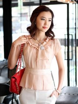 เสื้อทำงานผู้หญิงแขนสั้น ผ้าชีฟอง สีชมพู
