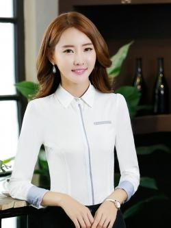 เสื้อเชิ้ตทำงานแขนยาวสีขาว คลิปเรียบๆ สำหรับเป็นชุดยูนิฟอร์ม ชุดพนักงาน