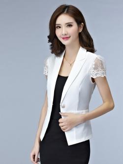 เสื้อสูทคลุมผู้หญิงแขนสั้นสีขาว ผ้าบางใส่สบาย