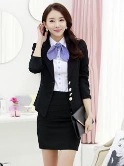 ชุดสูทสีดำ เสื้อเชิ๊ตขาว พร้อมกระโปรงสีดำ เรียบหรู สไตล์เกาหลี