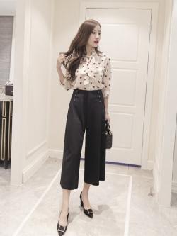 กางเกง culottes แฟชั่นใส่ทำงานคล่องตัว สีดำ