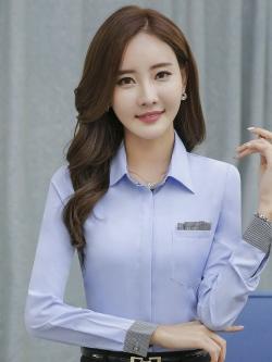 เสื้อเชิ้ตผู้หญิงทำงานแขนยาว สีฟ้าคลิปเทา เป็นชุดยูนิฟอร์มได้