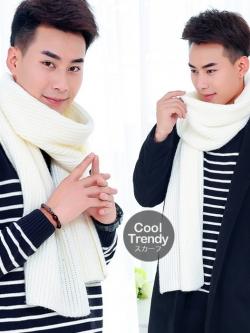 ผ้าพันคอไหมพรมถัก Knit Scarf - size 160x30 cm - สี White
