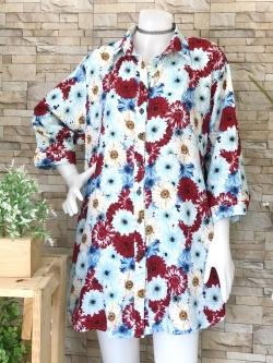 ส่ง:เดรสปกเชิ้ตกระดุมผ่าหน้าลายดอกสดใสใส่สบายผ้าพริ้ว/อก42