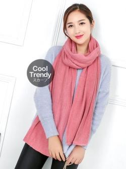 ผ้าพันคอไหมพรม ผ้า cashmere scarf size 180x30 cm - สี pink