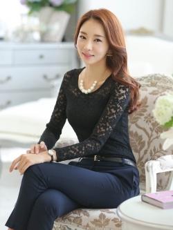เสื้อแขนยาวแฟชั่นผ้าลูกไม้สวยน่ารัก สีดำ