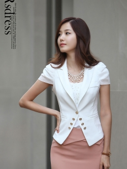 เสื้อผ้าชุดทำงานผู้หญิง สูทแขนสั้นสีดำ - สีขาว