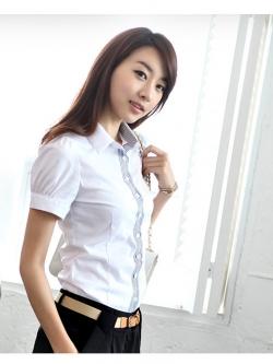 เสื้อเชิ้ตผู้หญิงแขนสั้นสีขาว ใส่ทำงาน เรียบแบบมีสไตล์