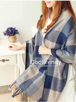 ผ้าพันคอ ผ้าคลุมพัชมีนา Pashmina ลายตาราง size 200x60 cm - สี ligh blue