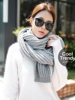 ผ้าพันคอไหมพรมถัก Knit Scarf - size 160x30 cm - สี ligth gray