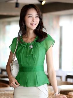 เสื้อทำงานผู้หญิงแขนสั้น ผ้าชีฟอง สีเขียว