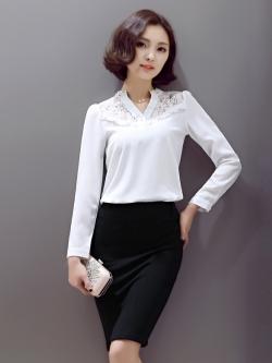 เสื้อทำงานผู้หญิงแขนยาวสีขาว เรียบดูดี ใส่สบาย