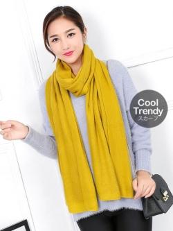 ผ้าพันคอไหมพรม ผ้า cashmere scarf size 180x30 cm - สี mustard