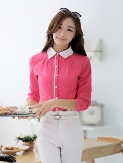 เสื้อเชิ้ตผู้หญิงแขนยาว สีชมพู คลิบขาว