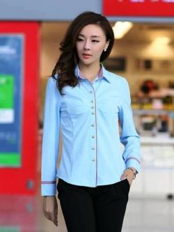 เสื้อเชิ๊ตผู้หญิงสีฟ้า คลิปสก็อต แขนยาวแฟชั่นเรียบหรู
