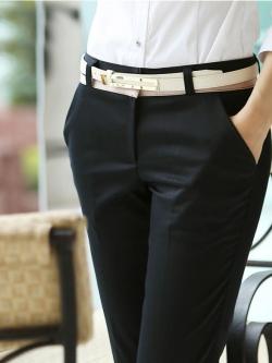 กางเกงทำงานขายาวทำงาน สีดำเอวน้ำตาล ผ้าใส่สบาย