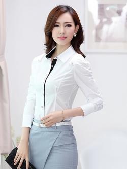 เสื้อเชิ้ตผู้หญิงแขนยาว สีขาว ขอบดำ