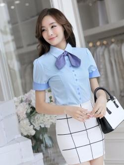 ชุดทำงานผู้หญิง เสื้อเชิ้ตผู้หญิงแขนสั้น สีฟ้า แบบรียบๆ พร้อมโบว์