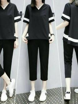 ส่ง:งานจีนเช็ท2ชิ้นแบบใส่เก๋ๆสบายๆ/เสื้ออก40+กางเกงเอว31-32
