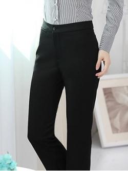 กางเกงทำงานผู้หญิงขายาว สีดำเอว ผ้าใส่สบาย