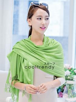 ผ้าพันคอ ผ้าคลุมพัชมีนา Pashmina scarf size 160 x 60 cm - สีเขียว