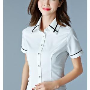 เสื้อเชิ้ตทำงานแขนสั้น สีขาวคลิปดำ เป็นยูนิฟอร์มได้