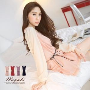 ♡♡pre-order♡♡ มินิเดรสสั้น ใส่ทำงานน่ารักๆ แขนยาว แต่งปลายชุดด้วยผ้าลูกไม้ สวยหรูหราดูดี