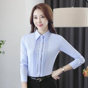 เสื้อเชิ้ตผู้หญิงแขนยาวสาปแฟชั่น สีฟ้า เป็นชุดทำงานชุดยูนิฟอร์มเรียบหรู