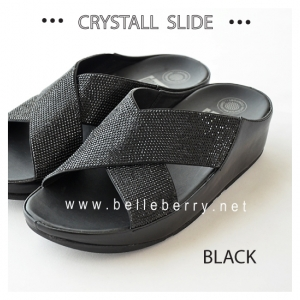 * NEW * FitFlop CRYSTALL Slide : Black : Size US 7 / EU 38