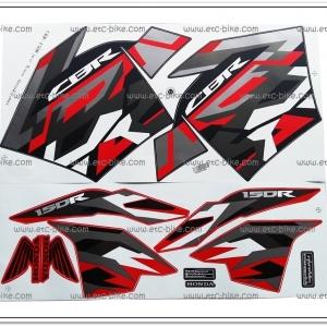 สติ๊กเกอร์ CBR150R ปี 2016 รุ่น 12 ติดรถสีแดง-ดำ