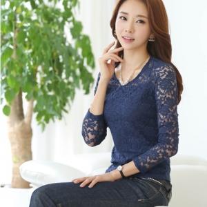 เสื้อแขนยาวแฟชั่นผ้าลูกไม้สวยน่ารัก สีน้ำเงิน