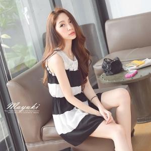 ♡♡pre-order♡♡ ชุดเดรสลายทางขวาง สีขาวสลับดำ ใส่ทำงานน่ารักๆ