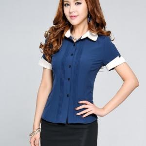 เสื้อเชิ๊ตทำงานแขนสั้นสีน้ำ ปกและแขนสีขาว