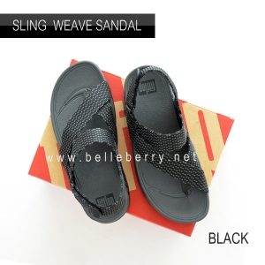 * NEW * FitFlop : Sling Mens Weave Sandal : Black / Dark Shadow : Size US 10 / EU 43
