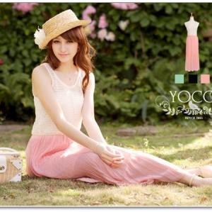 ♥♥ สีชมพูพร้อมส่งค่ะ ♥♥ แม๊กซี่เดรสยาวแขนกุด ช่วงคอกลมเสื้อตัวบนสีขาว ถักตาข่าวโครเซต์สวยๆ ตัดต่อกระโปรงสีฟองสีชมพูตัวยาว สวยหรูหรามากๆ ค่ะ