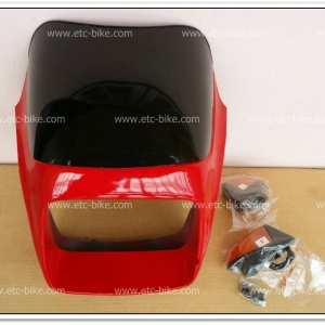 หน้ากาก+บังไมล์ พร้อมไฟเลี้ยว GTO/4 สีแดงสด