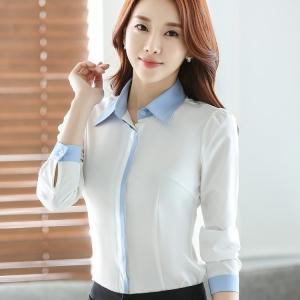 เสื้อเชิ้ตผู้หญิงแขนยาว สีขาว ปกสีฟ้า เป็นชุดทำงานชุดยูนิฟอร์มได้