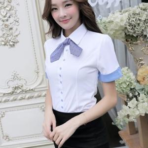 เสื้อเชิ้ตผู้หญิงทำงานแขนสั้น สีขาว แบบเรียบๆ พร้อมโบว์