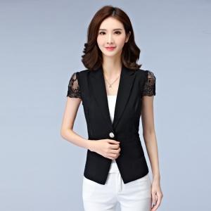 เสื้อสูทคลุมผู้หญิงแขนสั้นสีดำ ผ้าบางใส่สบาย
