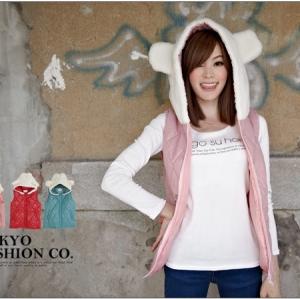 ♡♡Pre Order♡♡ เสื้อกันหนาวแบบมีฮู้ดด้านบนเป็นหูหมีสีขาวน่ารักๆ แขนกุด มีกระเป๋าข้าง ด้านหน้าเป็นซิบ สวย น่ารัก ใส่แล้วน่ารักกิ๊บเก๋ก่อนใครแน่นอนค่ะ