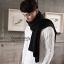 ผ้าพันคอผู้ชาย Man scarf ผ้า cashmere 180x30 cm - สี Black thumbnail 7