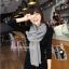 ผ้าพันคอไหมพรม ผ้า cashmere scarf 180x30 cm - สี light Grey thumbnail 4