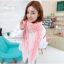ผ้าพันคอลายดอกซากุระ Sakura : White Pink ผ้า Viscose size 160x80 cm thumbnail 3