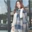 ผ้าพันคอ ผ้าคลุมพัชมีนา Pashmina ลายตาราง size 200x60 cm - สี ligh blue thumbnail 3